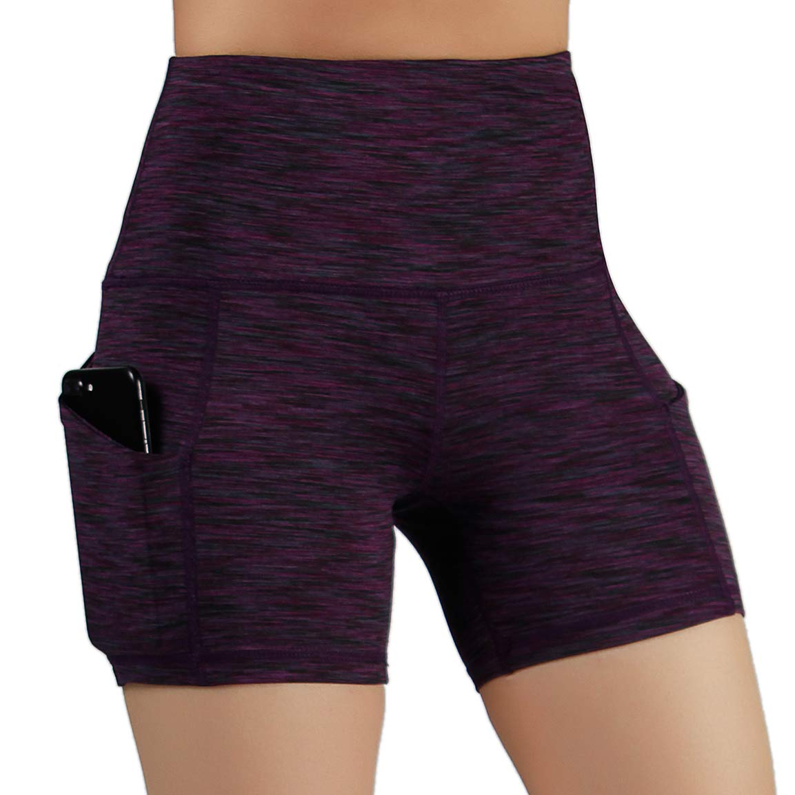 ODODOS High Waist Out Pocket Yoga Short Tummy Control Workout Running Athletic Non See-Through Yoga Shorts,SpaceDyeWine,X-Small by ODODOS