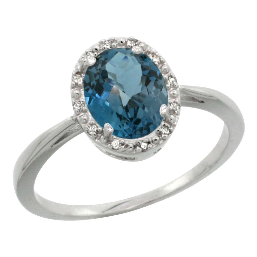 10K White Gold Natural London Blue Topaz Diamond Halo Ring Oval 8X6mm, size 8