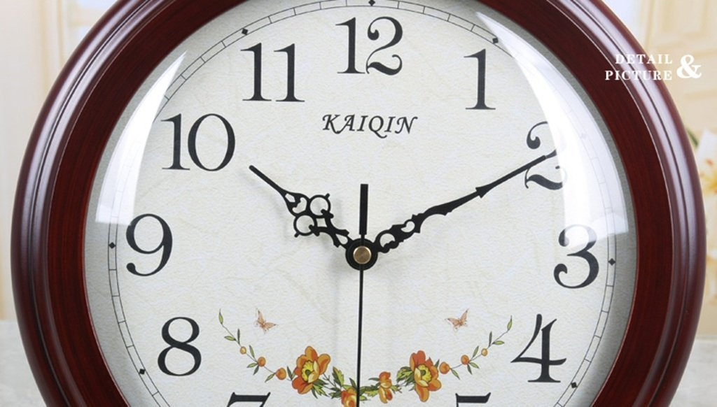 HAOFAY Desktop Clock, Vintage European Personality Brown Bedside Battery Powered Quartz Clock by HAOFAY (Image #4)