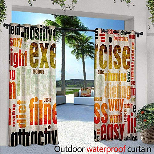 BlountDecor Fitness Indoor/Outdoor Single Panel Print Window Curtain Grungy Framework with Different Words Healthcare Concept Diet Endurance Exercising Silver Grommet Top Drape W108 x L96 Multicolor