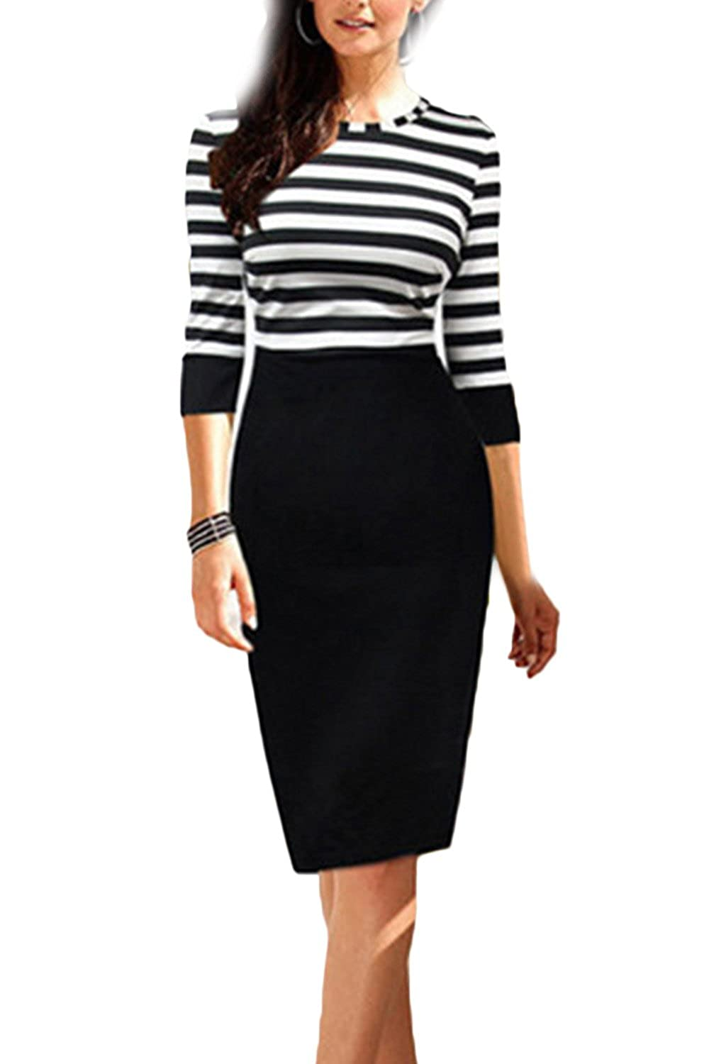 Women Autumn Stripes Long Sleeve Round Neck Office Bodycon Dress CANZ757