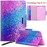 Galaxy Tab A 10.1 Case, Newshine Magnetic PU Leather Folio Stand Case with Auto Sleep/Wake Function [Card/Money Holder] For Samsung Galaxy Tab A 10.1-Inch SM-T580/T585 2016 Release - Purple Blue