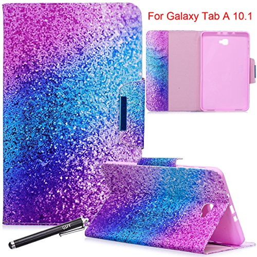 Galaxy Tab A 10.1 Case, Newshine Magnetic PU Leather Folio Stand Case with Auto Sleep/Wake Function [Card/Money Holder] For Samsung Galaxy Tab A 10.1-Inch SM-T580/T585 2016 Release - Purple Blue by NewShine