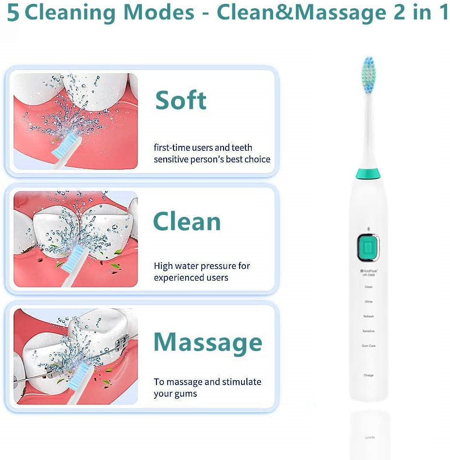 HoldPeak 338B Electric Toothbrush, Sonic Toothbrush with 4 Replacement Brush Heads and 5 Toothbrush Mode and Travel Case, Powerful APP Function for