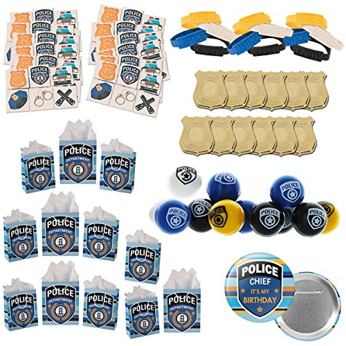 120 piece Police Party Supplies Birthday Favors bundle for 12 people -