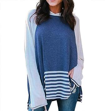 Mujer Oversized Jersey, lonshell niña otoño larga blusa Imprimir Patchwork sin – Camiseta Tops hedging
