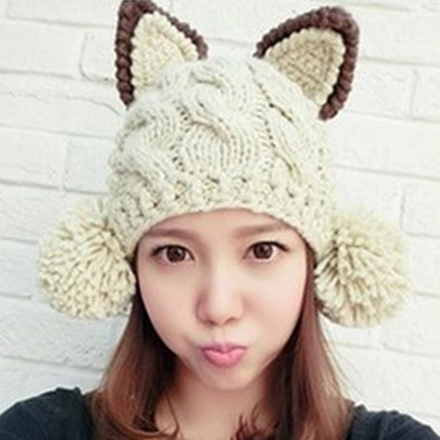 LOCOMO Cat Ear Pom Pom Cabled Knit Beanie Crochet Rib Hat Brim Cap ...