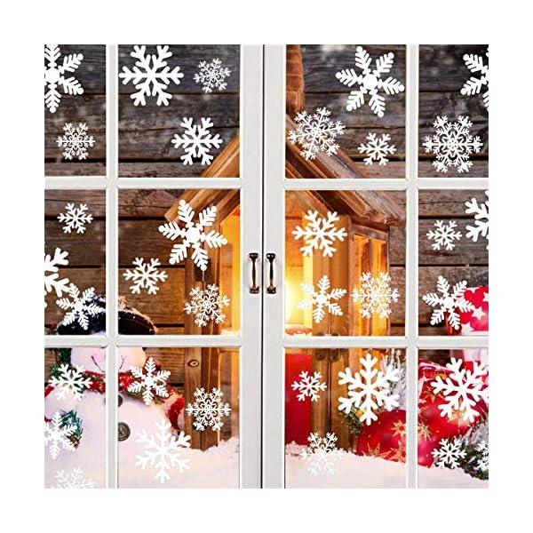Adesivo Fiocco di Neve per finestre, 108 Natale Vetrofanie Rimovibile Adesivi Murali Finestra Decorazione Fiocco di Neve Decorazioni Natalizie Fai da Te Sticker Decorativi da Finestra 1 spesavip