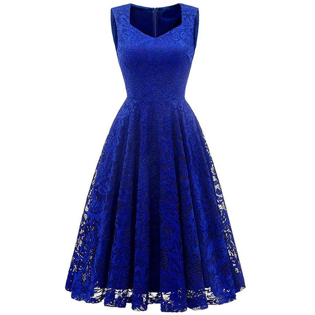 TRENDINAO 2019 Women Lace Sleeveless Party Dress Cocktail Prom Ballgown Fancy Dress Blue by TRENDINAO