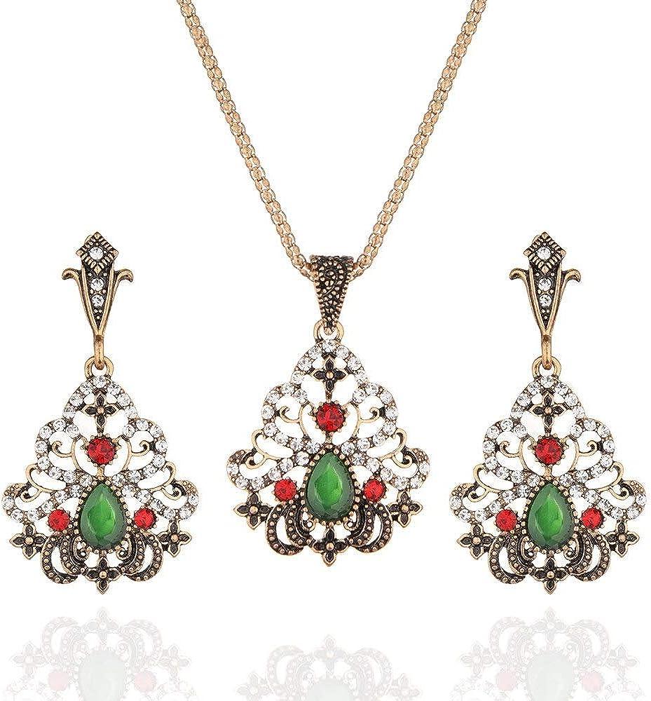 FUKAI Nueva Simple Moda Verde Vintage Joyería Étnica Collar De Flores De Cristal ConjuntosOreja Mujeres Turco Pendiente Y Collar Conjunto para Boda
