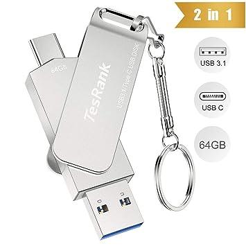 Memoria USB 64GB,TesRank Pendrive 64GB 3.1 USB 2 en 1 Tipo C OTG USB Flash Drive con Llavero USB Android Impermeable para Movíl Android,Ordenador,TV