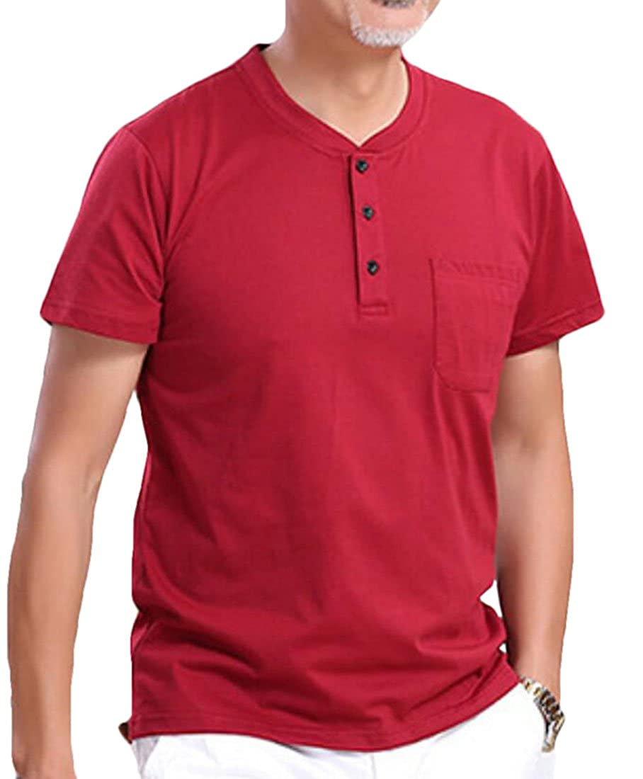 JXG Men Casual Cotton Loose Fit Henley Shirts Short Sleeve with Pocket