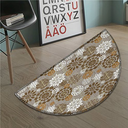 (stevenhome Floral Half round doormat outside Ornamental Flower Design Combinations Styles Diagonal Pattern Bathroom Mat for tub Non Slip Sepia Amber Grey)