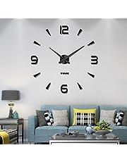 Vangold DIY Wall Clock Large 3D Frameless Wall Clocks for Living Room Decor (Black-73)