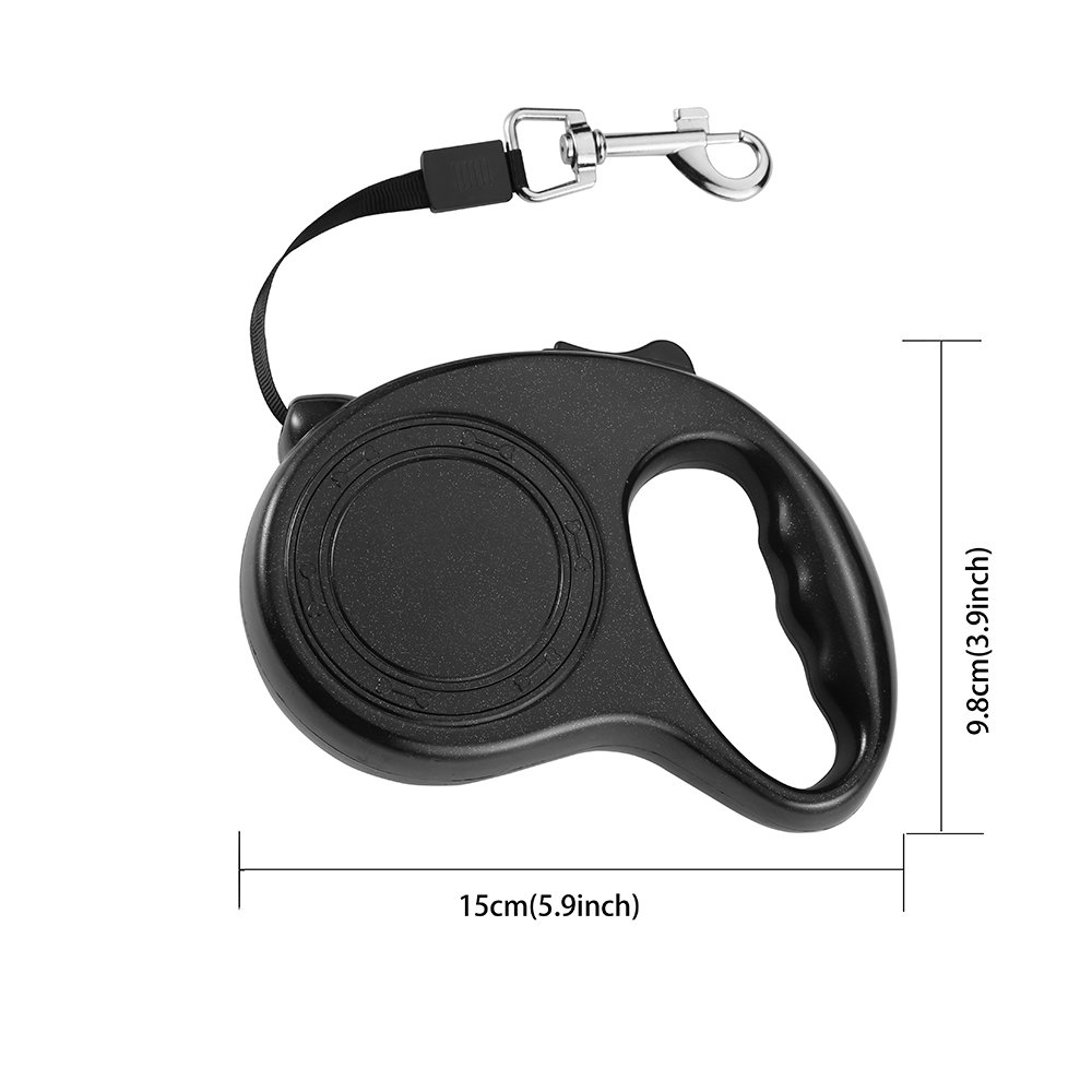 Namay Retractable Nylon Dog Leash with One Button to Lock on and off, Ideal for Medium and Large Dogs(Black)