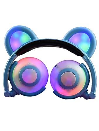Amazon Com Cat Ear Kids Headphones Usb Rechargeable Led Light Up