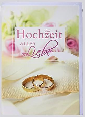 A4 Xxl Grosse Hochzeitskarte Ringe Rosa Rosen Amazon De