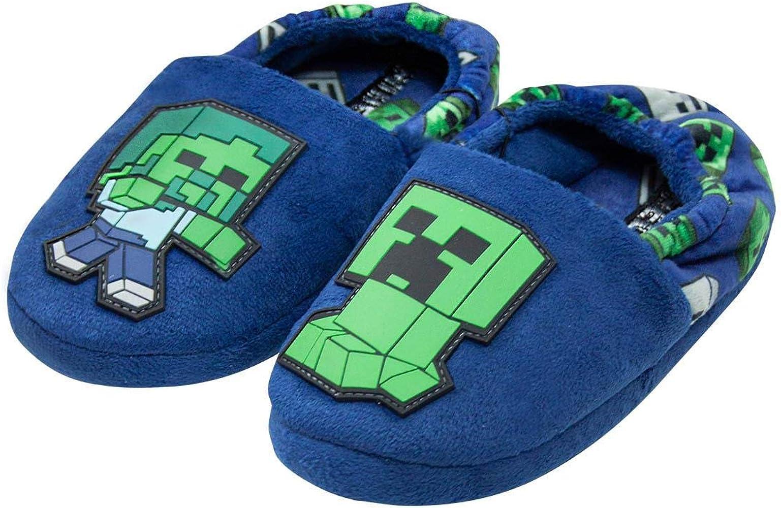 Minecraft Creeper Boy/'s Green Slipper Socks