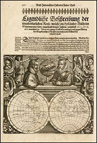 (Home Comforts Framed Art Your Wall Map Schouten Blaeu Untitled Map - Double Hemisphere Map Portraits Magellan, Schoten, Drake, Von Noort, Cavendish Speilbergen c. 1618 10x13 Frame)