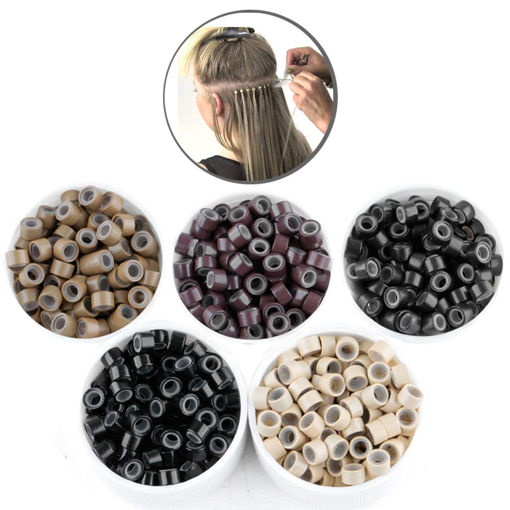 2500pcs Hair Extentions Micro Rings Links Beads, 5mm Silicone Lined Beads for Human Hair Extensions Tool by GOTDYA