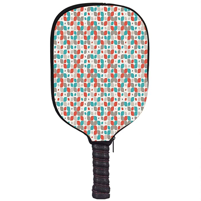 Amazon.com : Neoprene Pickleball Paddle Racket Cover Case, Retro, Old Fashioned Style Abstract Mosaic Grid Inspired Floral Pattern Classical Decorative, ...