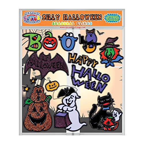 JesPlay Seasonal Halloween Gel Window Clings for Kids and Toddlers (CPSC Tested Safe) – Incredible Removable and Flexible Gel Decals - Pumpkin, Owl, Boo, Cat, Ghost, Witch, Bat and -