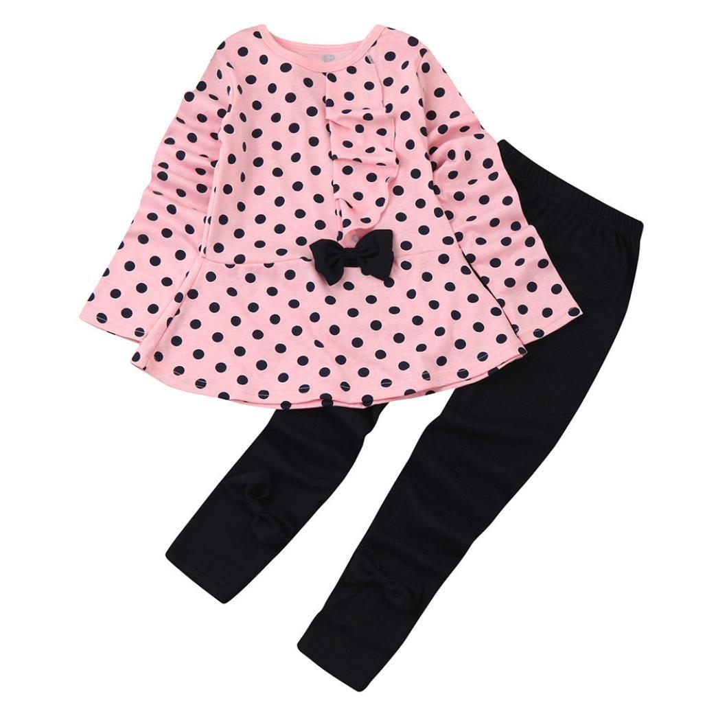 Koly Niños infantes bebés puntos Imprimir Arco de ropa Top de manga larga O-Collar Camiseta+Pantalones negros Bebé de Footies Conjunto de trajes chaquetones ropa de niños