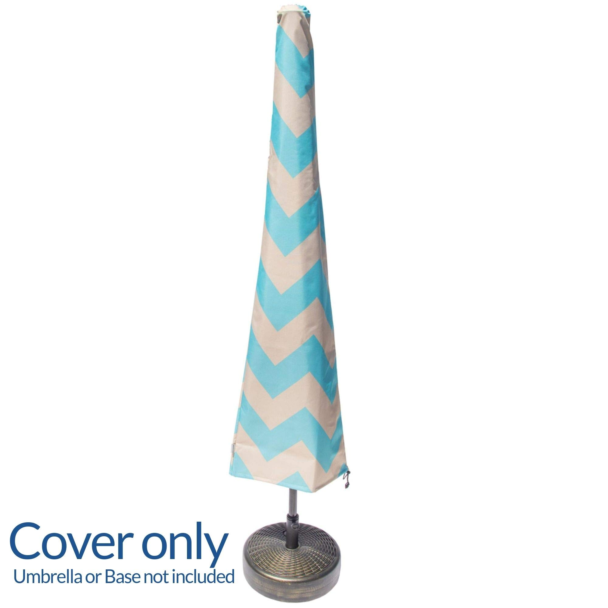 Nest & Nook Patio Umbrella Cover | Umbrella Covers for Outdoor Umbrellas Waterproof 7ft to 11ft - Blue and Creme Chevron Striped | Heavy-Duty and Easy-to-use Outdoor Parasol Covers with Zipper by Nest & Nook