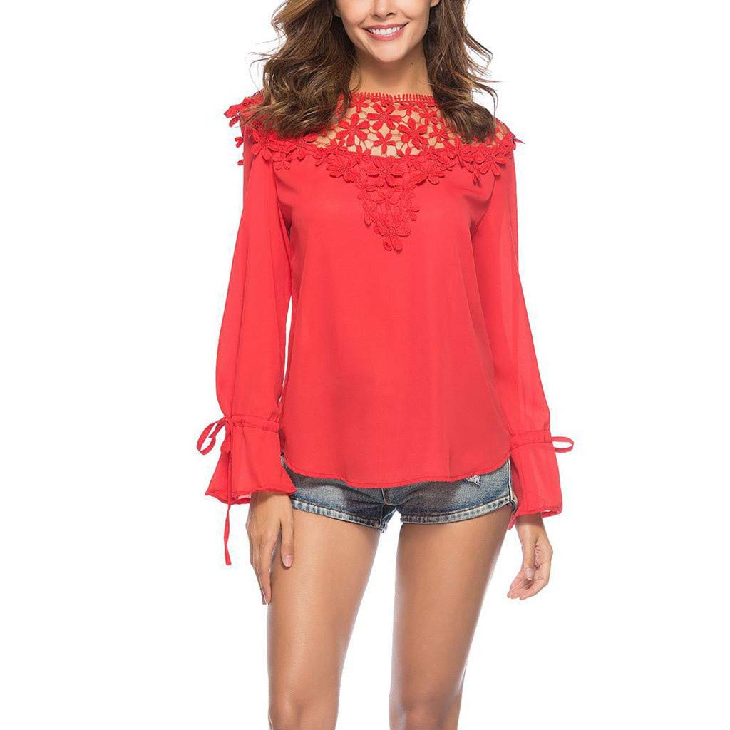 Lmx+3f Fashion Women Solid Lace Casual Tops Long Sleeve Patchwork T-Shirt Hollow Out Soild Loose Soft Comfy Top Red