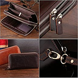 Yilen Top Grain Cowhide Genuine Leather Wallet Luxury Clutch [Business Style] Double Zipper around Wallet Handbag Pockets Money Purse / Mobile Phone Pouch Case Bag for Samsung Galaxy S6/ Samsung Galaxy S5/samsung Galaxy Note 3 iPhone 6 Plus 5.5 inch /iPho