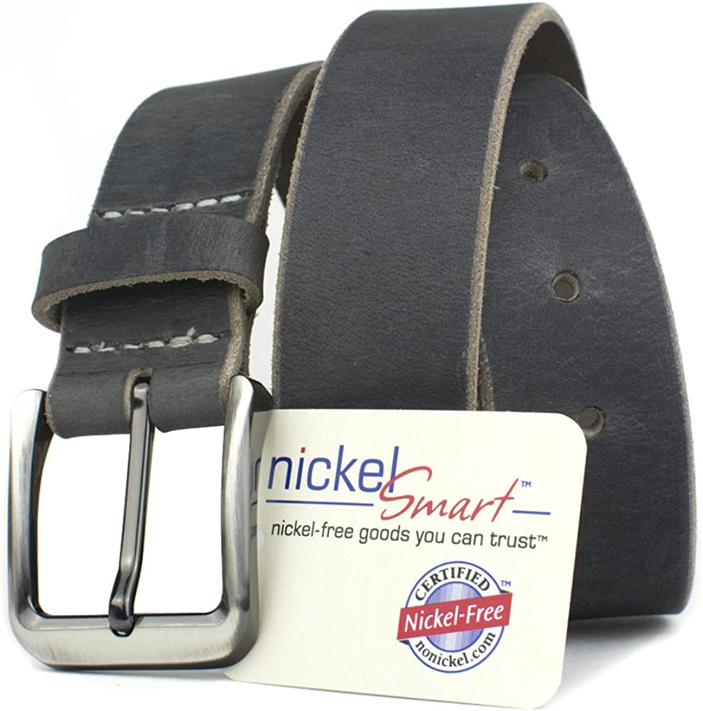 Smoky Mountain Distressed Leather Belt Nickel Smart Gray Full Grain Leather Belt with Nickel Free Zinc Buckle