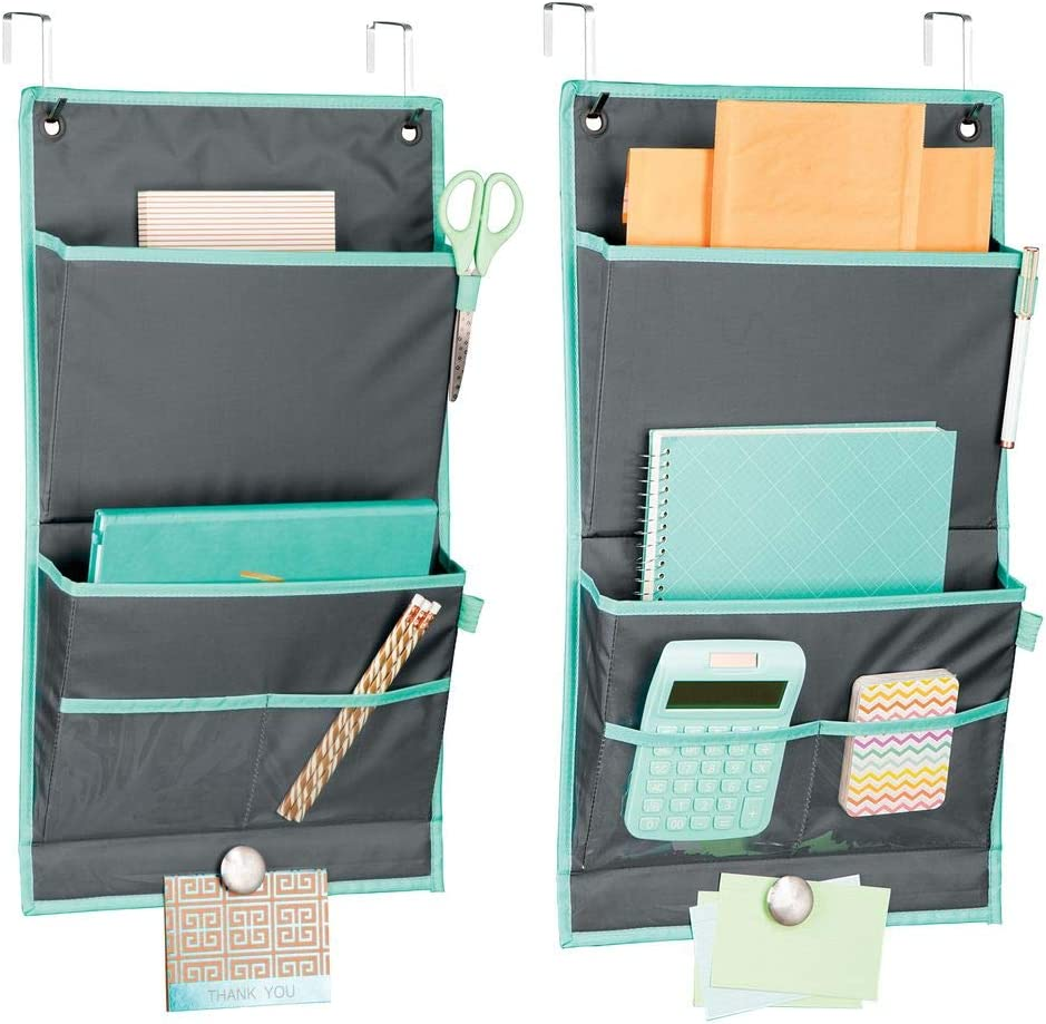 mDesign Soft Fabric Over Cubicle Partition Hanging Storage Organizer - 4 Pockets and Magnetic Strip - Vertical Office Center for Home Office, Work Cubicle - Hooks Included, 2 Pack - Gray/Teal Blue