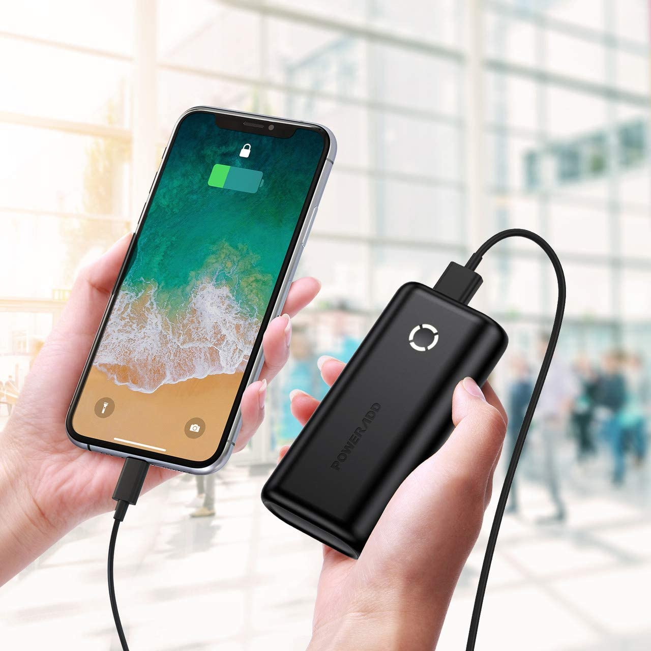 Power Bank POWERADD EnergyCell 10000, Ultra-Compact High-Speed Charging Portable Charger, Smallest and Lightest External Battery Compatible for iPhone 12 XS X Samsung S10 Google LG iPad and More