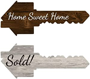 Real Estate Key Shaped Prop Sold Sign | Double Sided - Sold/Home Sweet Home | Social Media Photo Props for Realtors and Home Owners