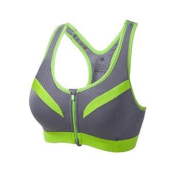 Yamyannie Mujer Bralette Top Sujetador de Yoga de Gran tamaño Verde Transpirable Belleza Espalda absorción de absorción Sujetadores Básicos Racerback Bra: ...