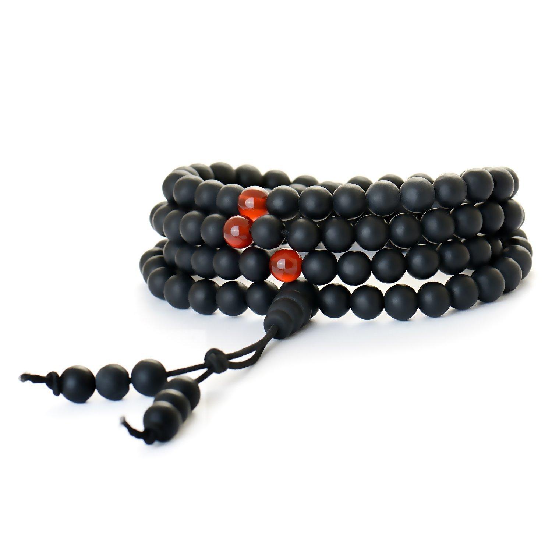 Mala Beads - Buddhist Prayer Beads - Tibetan Mala Necklace - 108 6mm Matt Healing Bian Stones Beaded Wrap Bracelet - Chakra Jewelry for Meditation