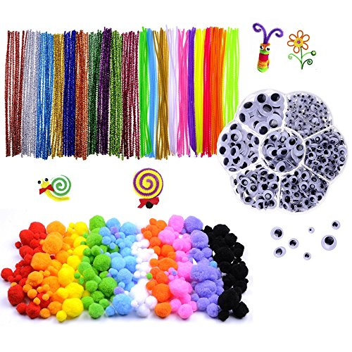 Fuzzy Art Set (1000 pcs Craft Pipe Cleaners Glitter Chenille Stems Bundle including 200 Pipe Cleaners, 200 Pom Poms, 600 Wiggle Eyes in a Box)