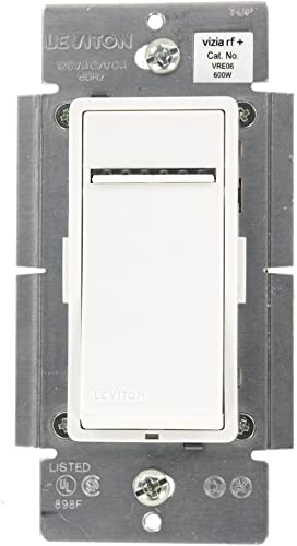 Leviton VRE06-1LZ Vizia RF 600W Electronic Low Voltage Scene Capable Dimmer, White Ivory Light Almond, Works with Alexa