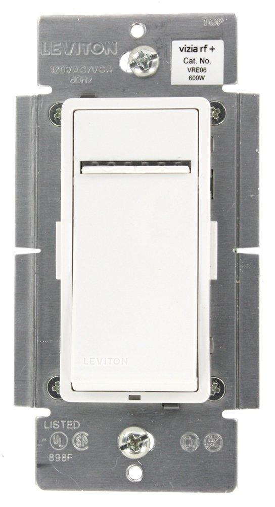 Leviton VRE06-1LZ Vizia RF + 600W Electronic Low Voltage Scene Capable Dimmer, White/Ivory/Light Almond, Works with Amazon Alexa