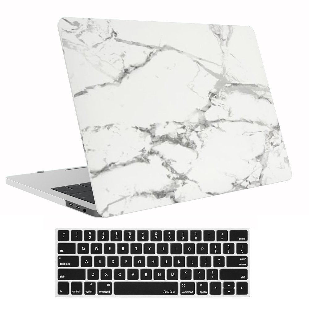 "Procase MacBook Pro 15 Case 2019 2018 2017 2016 Release A1990/A1707, Hard Case Shell Cover and Keyboard Cover for Apple MacBook Pro 15"" with Touch Bar and Touch ID -White Marble Pattern"