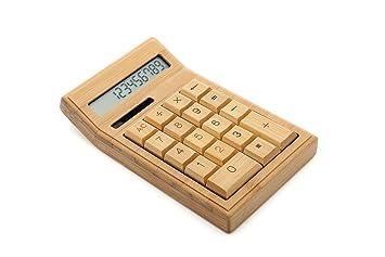 Cftrum calculatrice de bois naturel fait main unique bambou