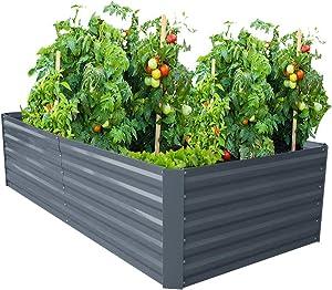 Galvanized Steel Raised Garden Bed Kit Extra Height Elevated Planter Box Steel Large Vegetable Flower Bed Kit (3.3 x 6.6 x 1.6 Ft, Dark Grey)