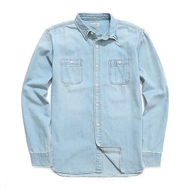 204991eb Bii Free Men's Slim Fit Shirts 100% Cotton Long Sleeve Work Shirt (Asian  Size
