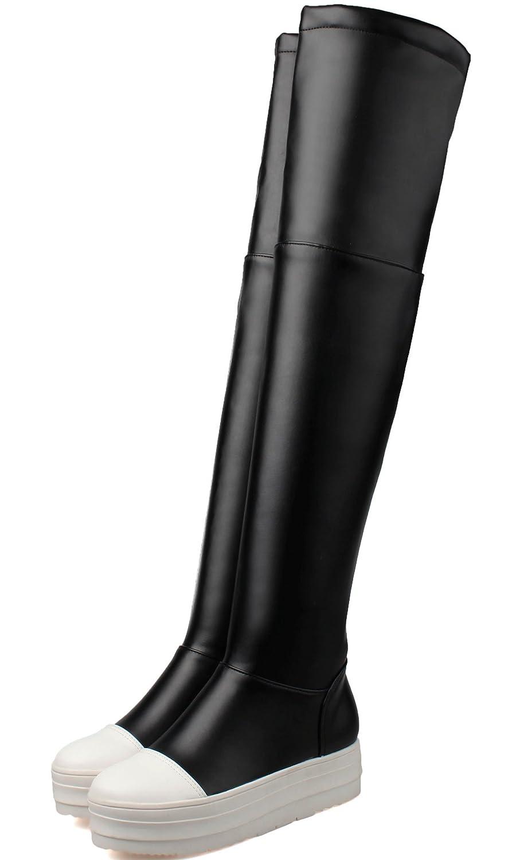 6a11e268ffe99 BIGTREE Mujeres sobre Botas a la rodilla Plataforma informal negro Otoño  Invierno Cómodo PU cuero largo Botas Negro