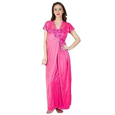 4f8735be05 BOMBSHELL Women's Satin Nightwear/Night Dress/Nighty Set of 2 Pcs Nighty  and Robe