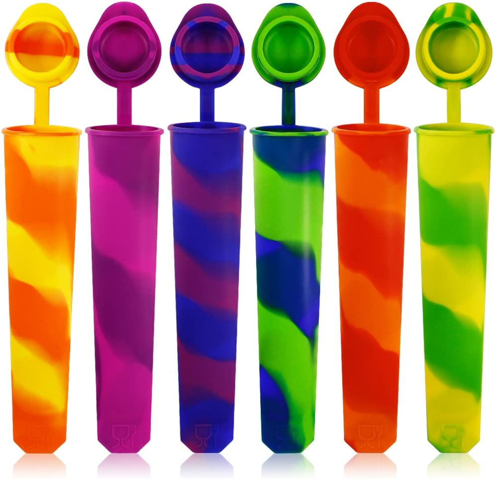 Silicone Ice Pop Molds Set of 6, maxin Mold Colored Rainbow Swirl Ice Popsicle Mold Maker with Attached Lids. (Asorted Color)