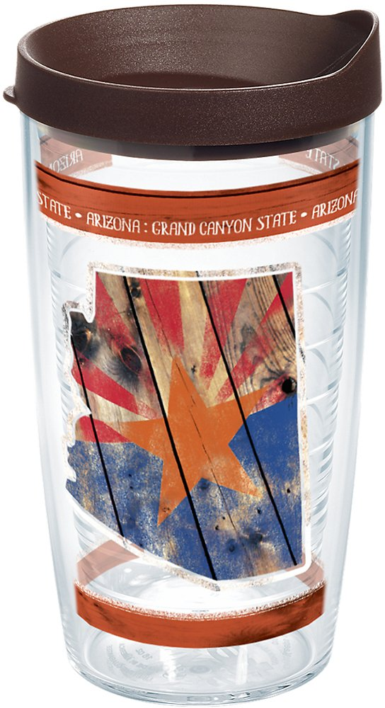 Tervis 1250228 Arizona State Outline Insulated Tumbler with Wrap and Brown Lid 16oz Clear