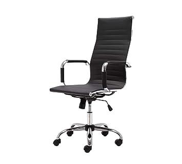 LAKDI Pu Leatherite High Back Chair with Swivel (Black)