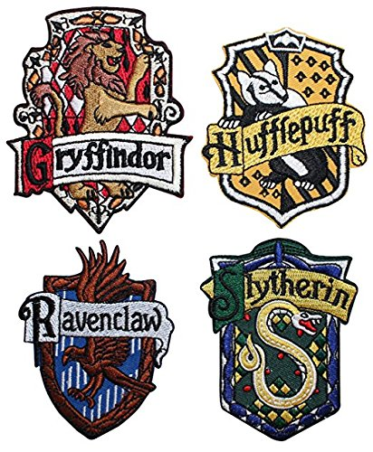 Set of 4 Hogwarts House Crests Robe Emblems Harry Potter Iron On Applique Patchs … -