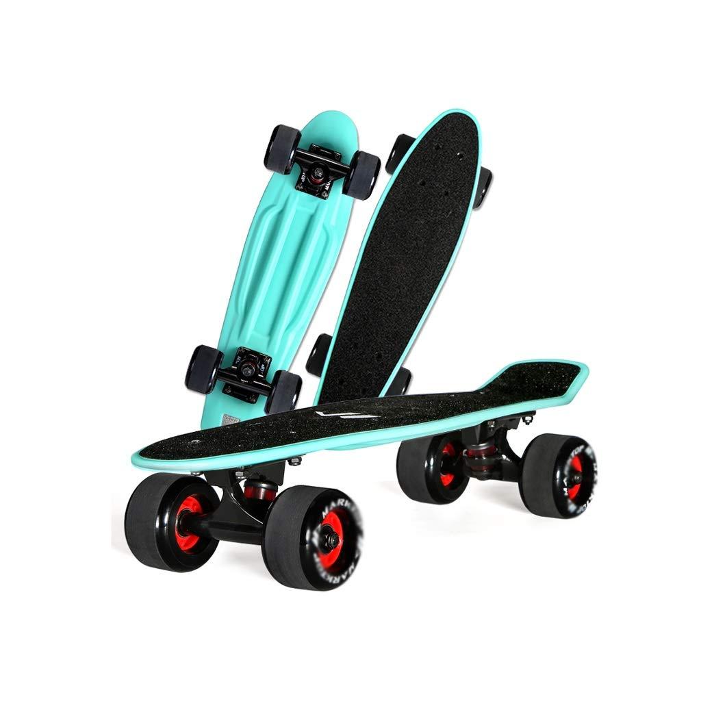 HXGL-Skateboards Four-Wheeled Skateboard Small Fish Plate Travel Brush Street 57cm Maple Big Fish Plate Adult Children (Color : Black)